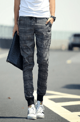 NinjApparel - Chequer Joggers - Grey Front View