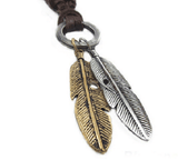 NinjApparel - Vintage Leather Necklace - Feather - Silver Gold Colour