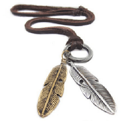 NinjApparel - Vintage Leather Necklace - Feather 2