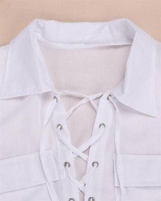 NinjApparel - Zig Zag Shirt - White - Collar Detail