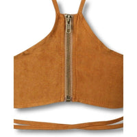 NinjApparel - Criss Cross Crop - Tan - Zipper  Detail
