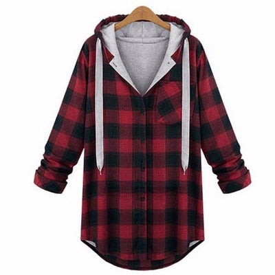 NinjApparel - Plaid Assassin Hoodie - Red - Front