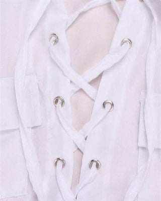 NinjApparel - Zig Zag Shirt - White - String Detail