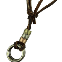 NinjApparel - Vintage Leather Necklace - Loop - Close up