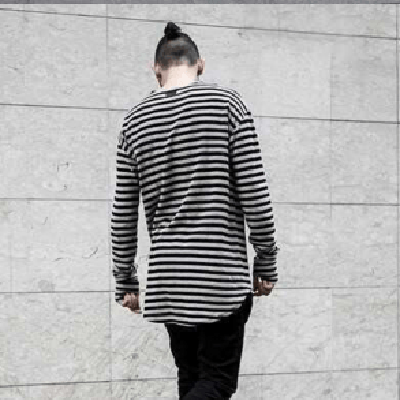 NinjApparel - Mime Tee - Black/Grey Back View Long Sleeve