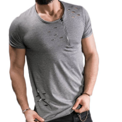 NinjApparel - Ripped Casual Tee - Grey