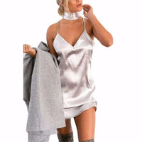 NinjApparel - Sleek Vintage Dress - Silver White