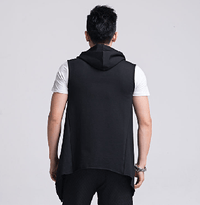 NinjApparel - Sleeveless Harem Hoodie - Black Back View