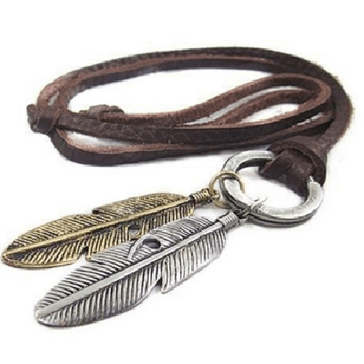 NinjApparel - Vintage Leather Necklace - Feather - Cover Photo