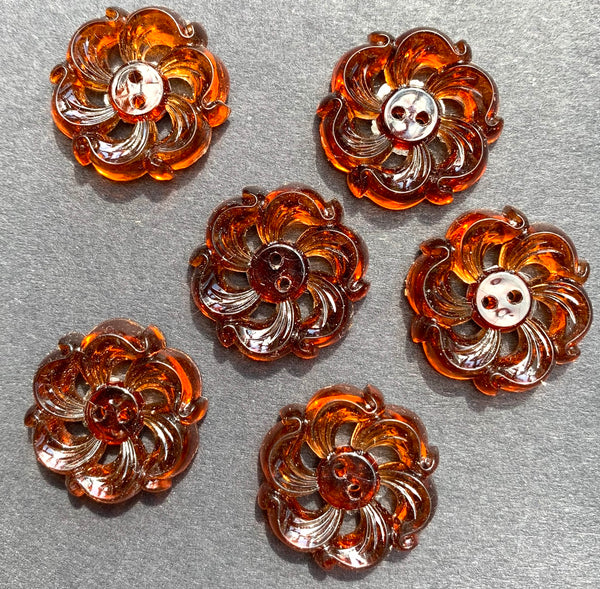 6 Unusual Swirly 2cm Vintage Buttons - Very Deco
