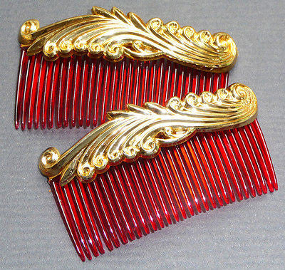 2 Vintage 1940s Hair Combs - 8cm... Very Burlesque...