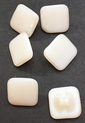 9mm Square Vintage White Glass Buttons - 6 of them..