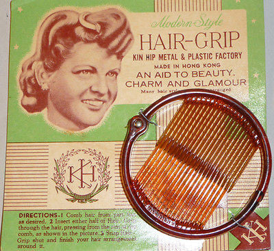 "1940s 8cm Ring Grip ""Modern Style HAIR-GRIP AID TO BEAUTY CHARM AND GLAMOUR """