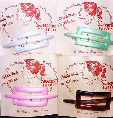 "Vintage 1950s ""SWEEPSTICK"" BARRETTE Choice of 4 Colours"