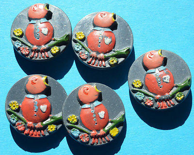 5 Delightful Vintage Italian Childrens Baby Bird Buttons - Choice of Colours