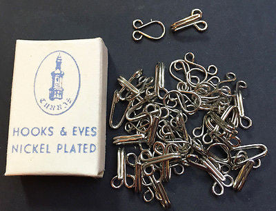 Box of 25 Vintage 1cm Hooks   Eyes Old Shop Stock