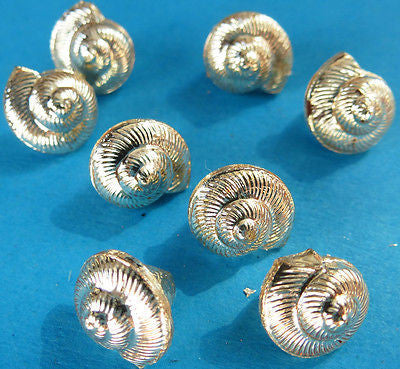 8 Tiny 9mm Vintage Gold Sea Shell Buttons