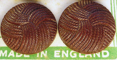 1940s Bakelite Interlocking Thread Buttons -12 on Display Card- Choice of Sizes