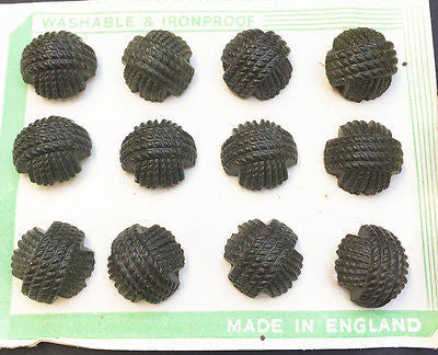 12 Racing Green 1940s Bakelite Woven Thread Buttons -3 sizes