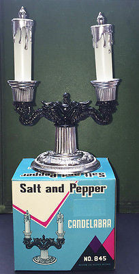 Kitsch 1960s Baroque Candelabra Salt & Pepper Set- Boxed -Old Shop Stock