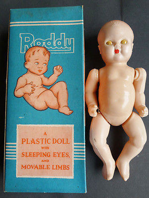 "1950s BRITISH MADE 7"" Moveable RODDY DOLL in Original Box"