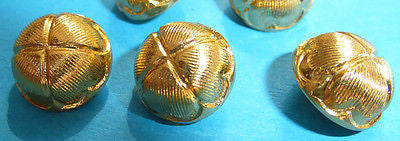 Vintage Gold Lotus Flower 12mm Buttons - 6 of them