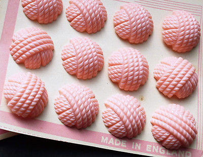 Choice of 3 Sizes - 1940s Pink Catalin Woven Thread Buttons -12 on English Card