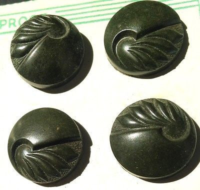 12 Bakelite 2.2cm Dark Brown/ Green VERY Deco buttons - Made in England on card
