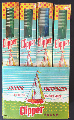 Vintage EMPIRE MADE Junior CLIPPER TOOTHBRUSH MINT in Original Box