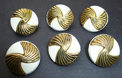 6 Vintage 1960s White + Gold Buttons - 2.5cm or 1.8cm