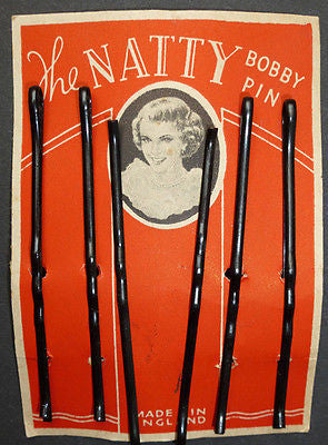 "1930s ""The NATTY BOBBY PIN"" 7cm ""Black Waved Grips"" x 6"