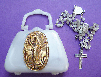Glorious Vintage Handbag Rosary Bead Holder with Rosary Beads