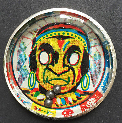 1950s Tin Dexterity Puzzle  Made in JAPAN -  Clown or Indian
