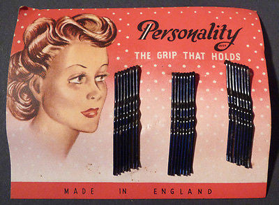 "1940s ""PERSONALITY The Grip That Holds"" Hair Slide Pkt"