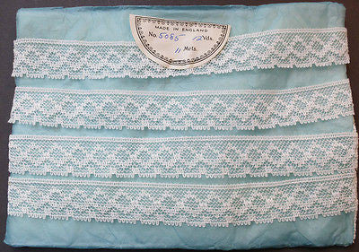 "12 Yds Lovely Vintage English 1""  White Lace Trim - Feels Like Cotton"