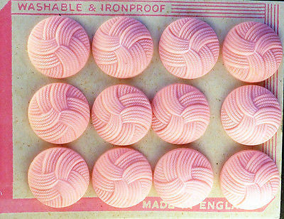 Catalin PINK Interlocking Thread Buttons -2.2cm, 1.6cm or 1.4cm - 12 on Display Card