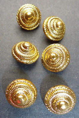 Rather Splendid Vintage 12mm Gold Tone Cone Shaped Metal  Buttons x 6
