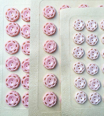 24 Baby Pink Vintage 1950s Space Age Buttons - 2cm, 1.7cm or 1.5cm wide