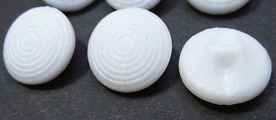 6 Vintage White Glass SWIRL 13mm Buttons