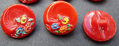 6 Charming Red Vintage Glass Buttons painted with Flowers - 1.5cm