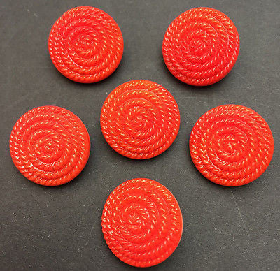 6 Stunning 1.8cm Vintage Red Glass Coiled Rope Buttons