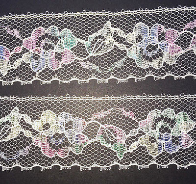 12Yds Wonderfully Pretty Vintage Pastel Flower Lace Trim 3.5cm