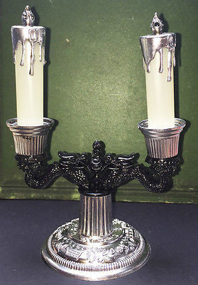 Kitsch 1950s Baroque Candelabra Salt & Pepper Set- Boxed -Old Shop Stock