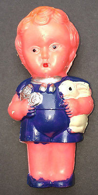 Charming but Rather Worried Vintage Boy and Rabbit Rattle