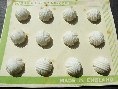 1940s White Catalin Woven Thread 1.5cm Buttons -12 on Display Card