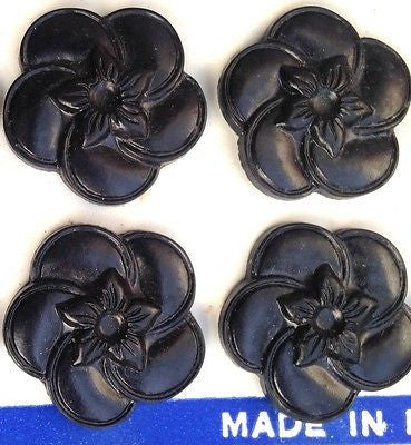 Black 2.2cm Vintage 1940s English Bakelite Flower Buttons
