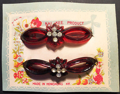 2 Gorgeous 1940s Perspex + Diamante Hair Clips 9cm wide