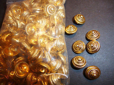 1 Gross- 144 Rather Splendid Vintage Gold Tone Cone Shaped Metal Buttons - 12mm wide