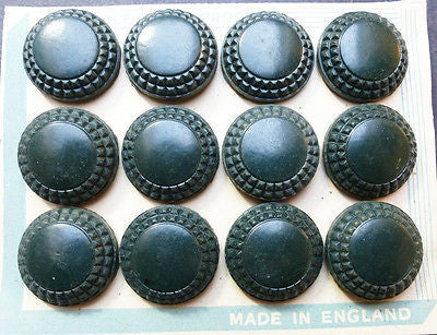 12 Racing Green Bakelite Buttons- 2.2cm - on Original Display Card
