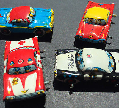 4 Vintage Japanese 1950s TIN CARS 35mm long